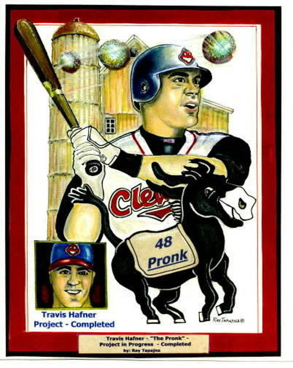 Sports Poster featuring the mixed media Travis Hafner Grand Slam by Ray Tapajna