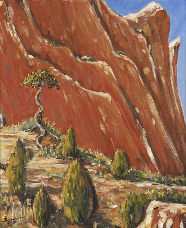 Colorado Poster featuring the painting Tree Hill by David Llanos