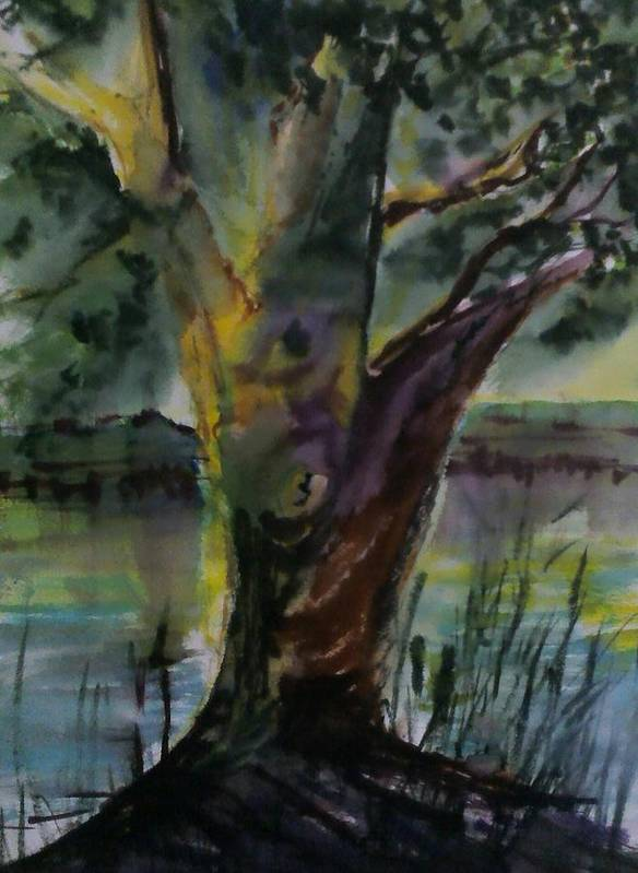 Tree Dream Impressionist Poster featuring the painting Tree In A Dream by Paul Rowe