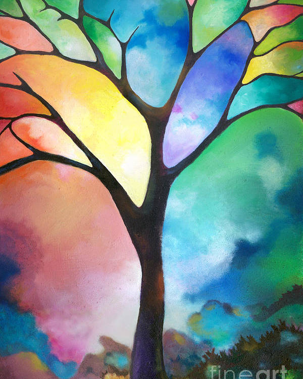 Original Art Abstract Art Acrylic Painting Tree Of Light By Sally Trace Fine Art Poster