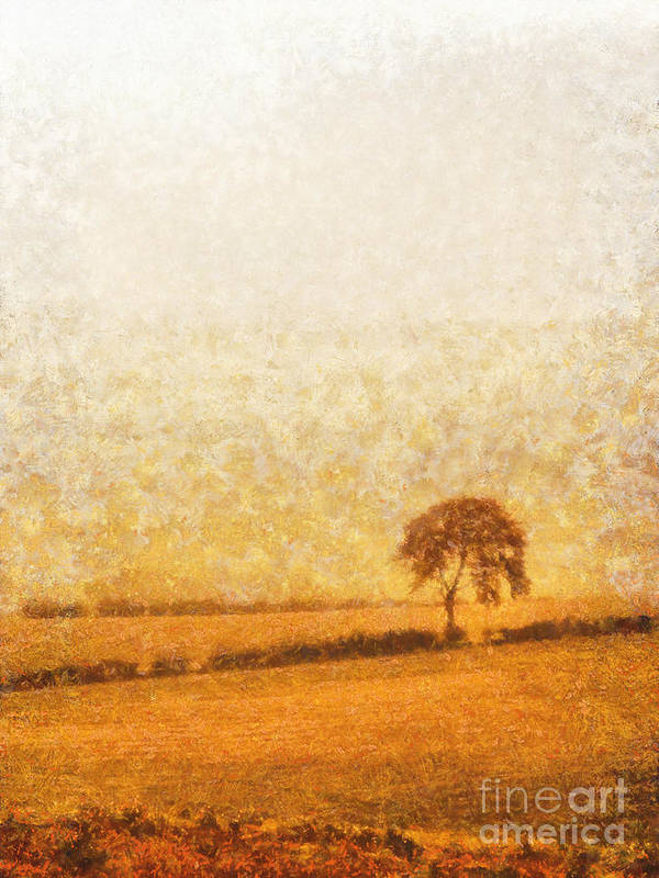 Tree Poster featuring the painting Tree On Hill At Dusk by Pixel Chimp