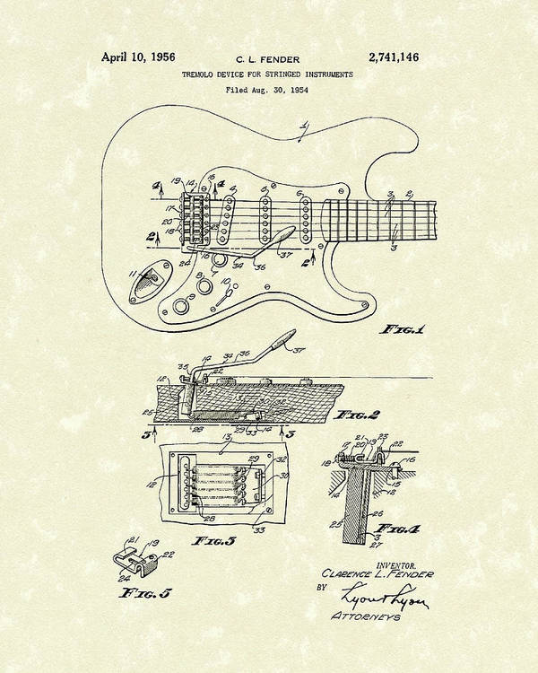 Fender Poster featuring the drawing Tremolo Device 1956 Patent Art by Prior Art Design