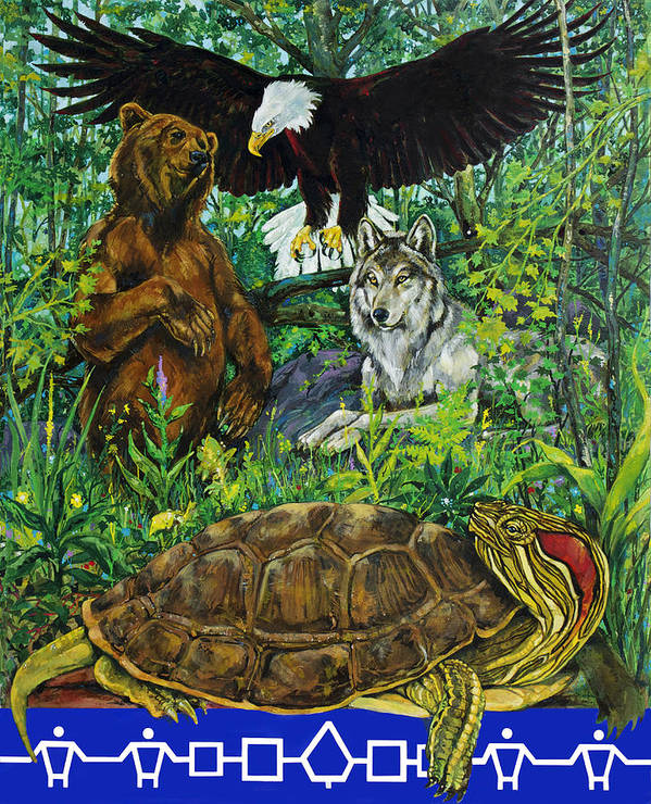 Haudenosaunee Poster featuring the painting Tribal Gathering by Derrick Higgins
