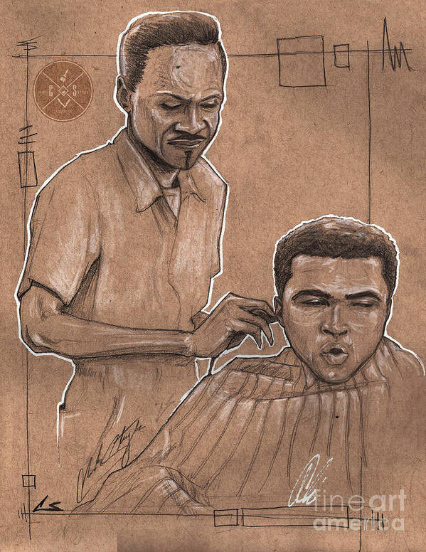 Barber Poster featuring the drawing Trim The Lion by Shop Aethetiks