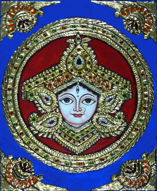 Goddess Durga Poster featuring the painting trinetra Durgaji by Vimala Jajoo