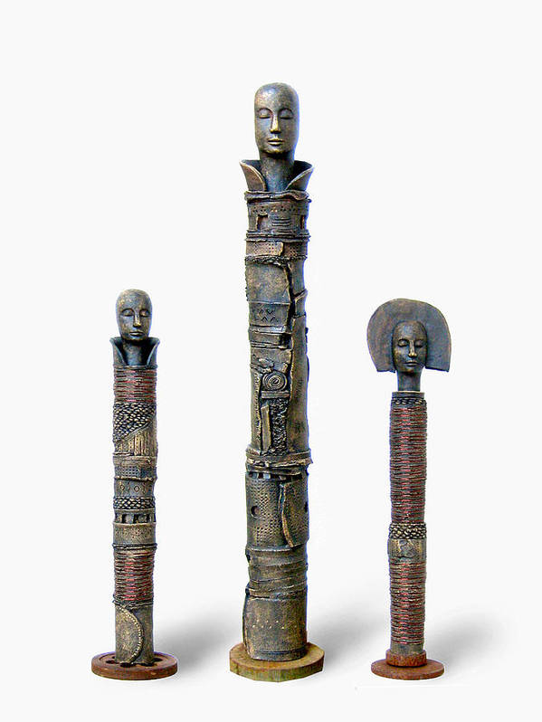 Totem Poster featuring the sculpture Trio by Danielle Fafchamps