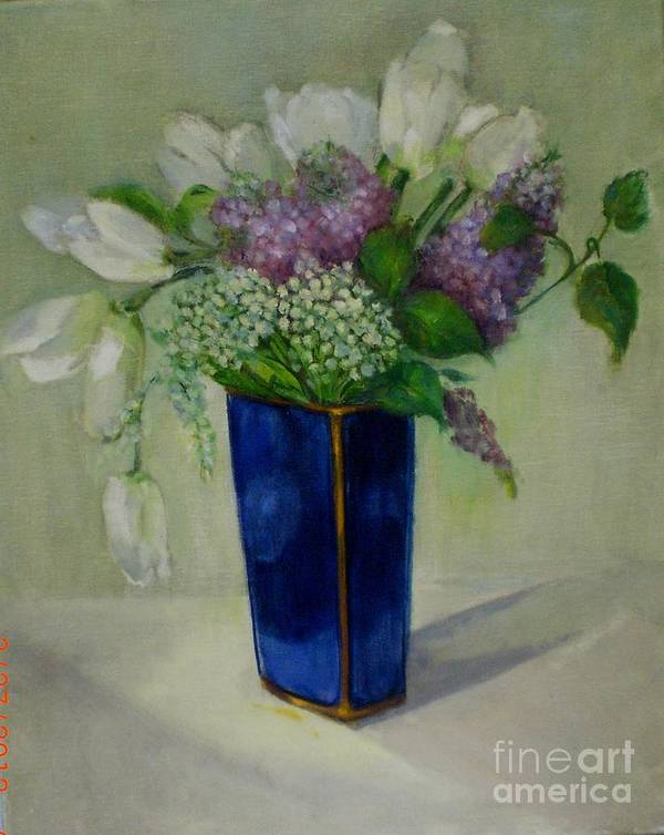Classic Floral Poster featuring the painting Tulips And Lilacs by Kathleen Hoekstra