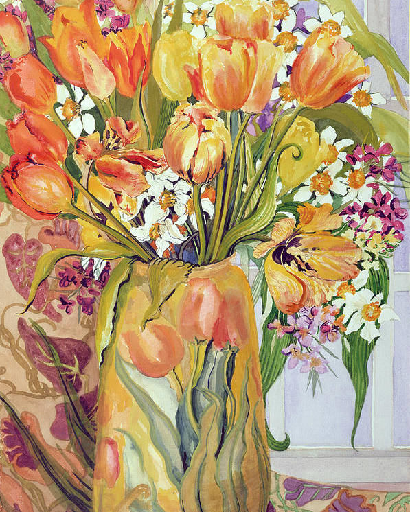 Spring Poster featuring the painting Tulips And Narcissi In An Art Nouveau Vase by Joan Thewsey