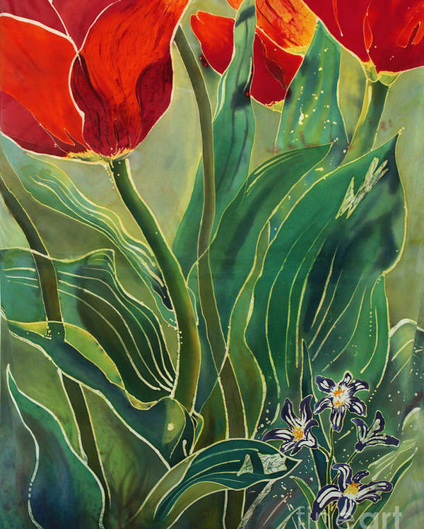 Batik Poster featuring the painting Tulips And Pushkinia by Anna Lisa Yoder