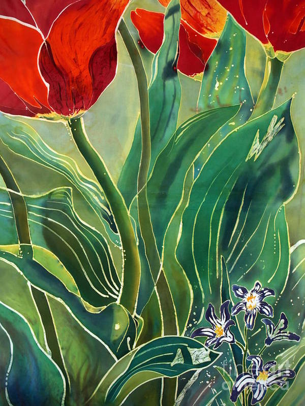 Batik Poster featuring the painting Tulips And Pushkinia Detail by Anna Lisa Yoder