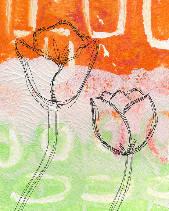 Abstract Poster featuring the mixed media Tulips by Linda Woods