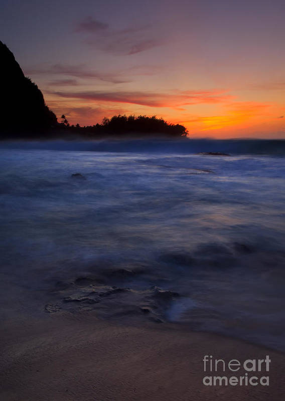 Tunnels Beach Poster featuring the photograph Tunnels Beach Dusk by Mike Dawson