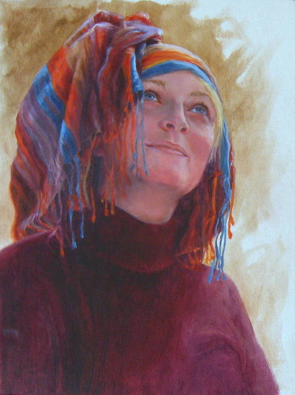 Figurative Poster featuring the painting Turban 1 by Connie Schaertl