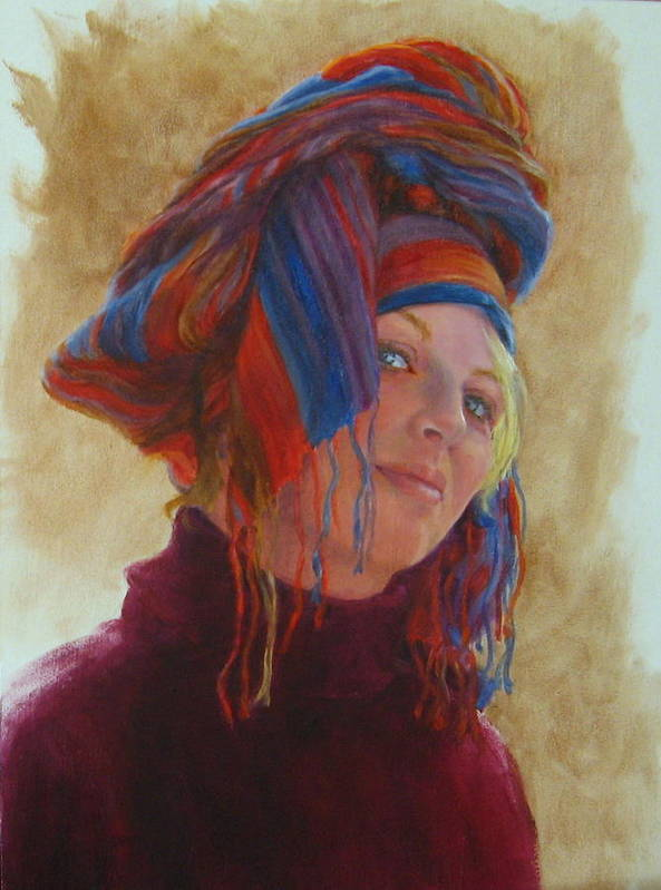 Figurative Poster featuring the painting Turban 2 by Connie Schaertl