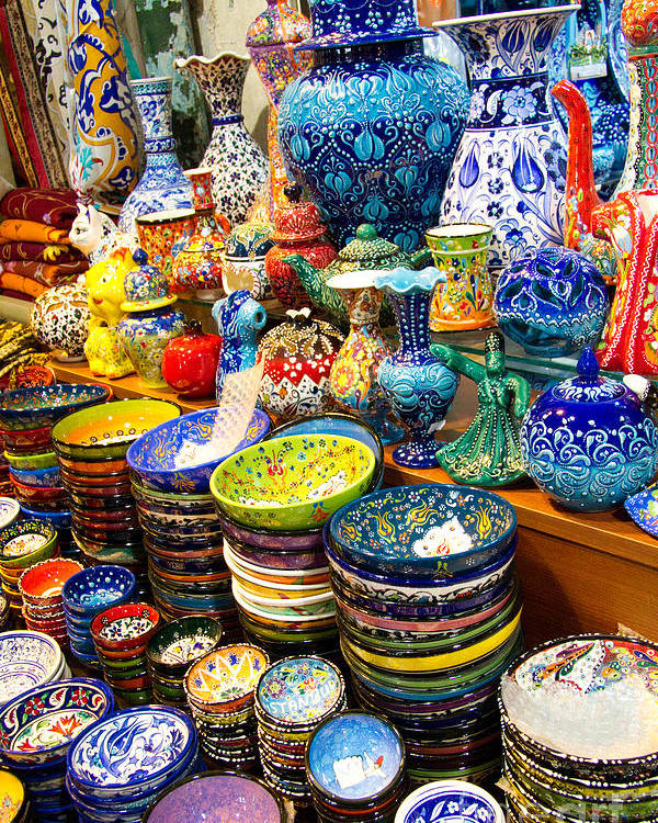 3dc69ca5 Grand Bazaar Poster featuring the photograph Turkish Ceramic Pottery 1 by David  Smith