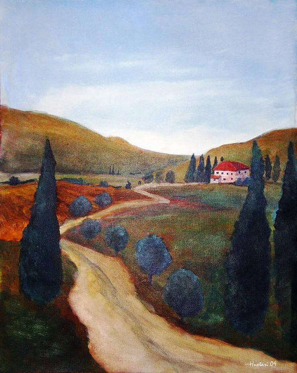 Rick Huotari Poster featuring the painting Tuscan Farmhouse by Rick Huotari