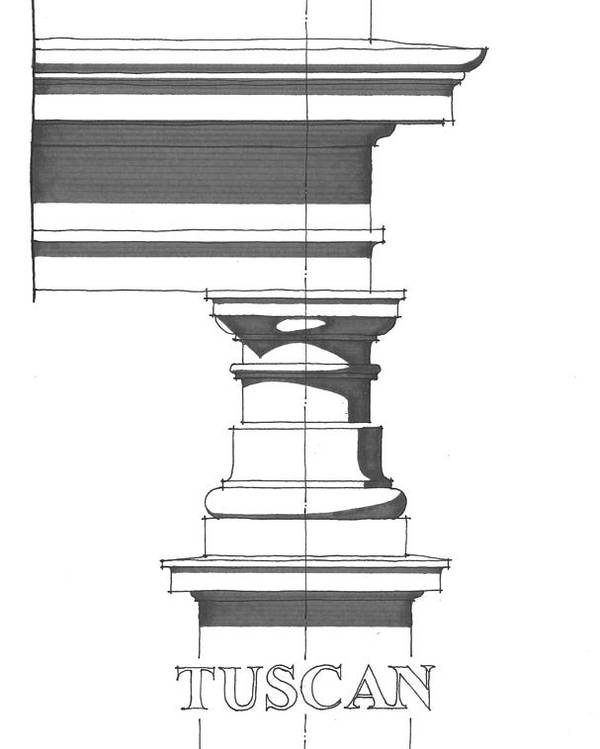 Architecture Poster featuring the drawing Tuscan Order by Calvin Durham
