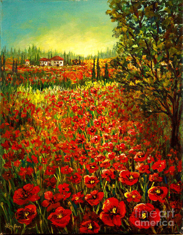 Tuscan Poster featuring the painting Tuscan Poppies by Lou Ann Bagnall