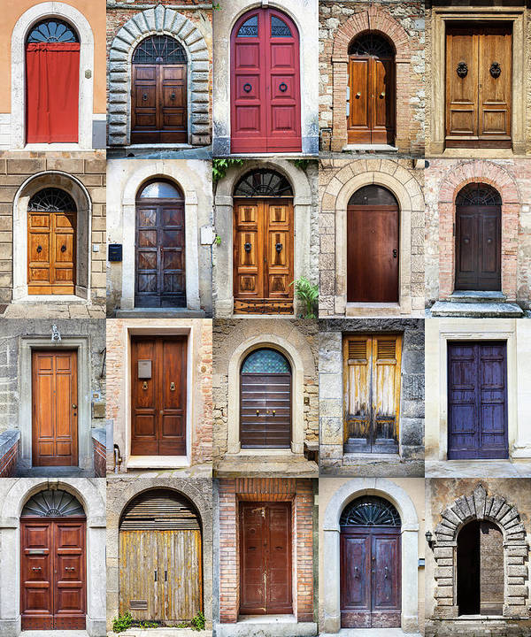 Arch Poster featuring the photograph Tuscan Wooden Doors, Italy by Moreiso