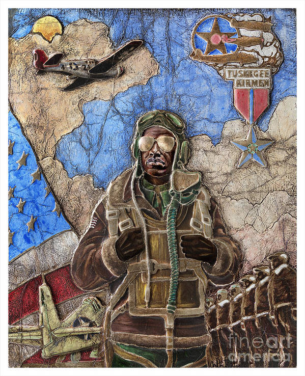 Tuskegee Airman Poster featuring the painting Tuskegee Airman by Anthony High