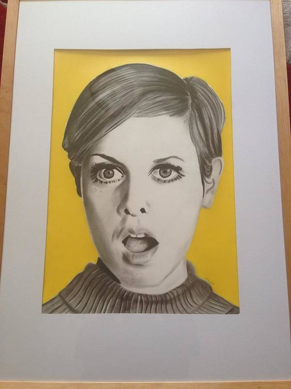 Twiggy Poster featuring the drawing Twiggy by Martin Burton