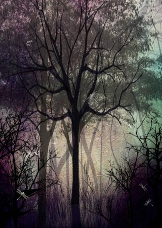 Trees Poster featuring the digital art Twilight Forest by Charlene Zatloukal