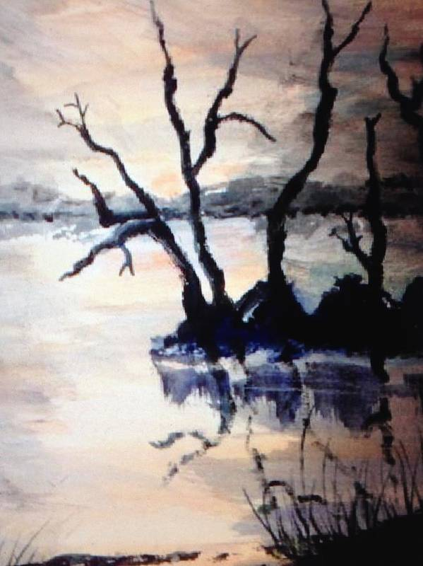 Landscape Poster featuring the painting Twilight Lake Sunset by Ronnie Egerton