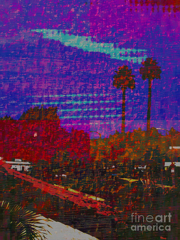 Twin Palms Purple Haze Poster featuring the painting Twin Palms Purple Haze by J Burns