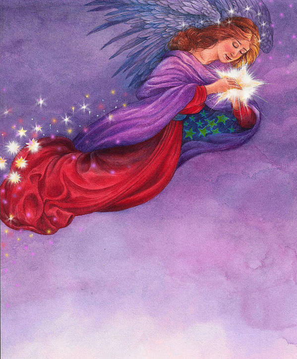 Angel Illustration Poster featuring the painting Twinkling Angel by Judith Cheng