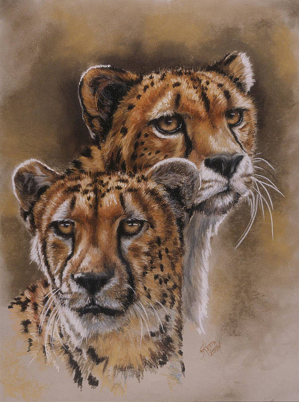 Cheetah Poster featuring the pastel Twins by Barbara Keith