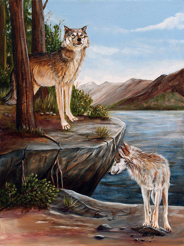 Wolves Poster featuring the painting Two Wolves by Dorothy Riley