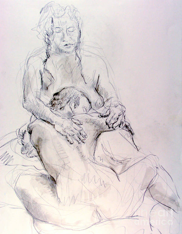 Andy Gordon Poster featuring the drawing Two Woman Embraceing by Andy Gordon