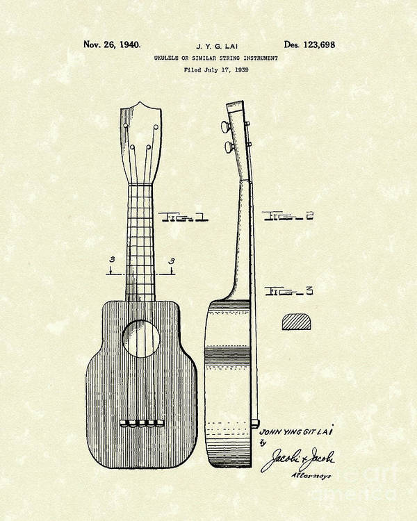 Lai Poster featuring the drawing Ukelele 1940 Patent Art by Prior Art Design