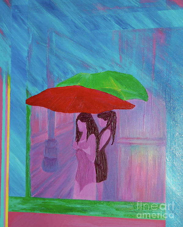 Umbrellas Poster featuring the painting Umbrella Girls by First Star Art