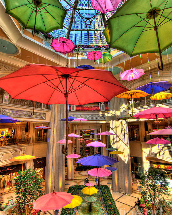 Art Poster featuring the photograph Umbrellas At Palazzo Shops by Amy Cicconi