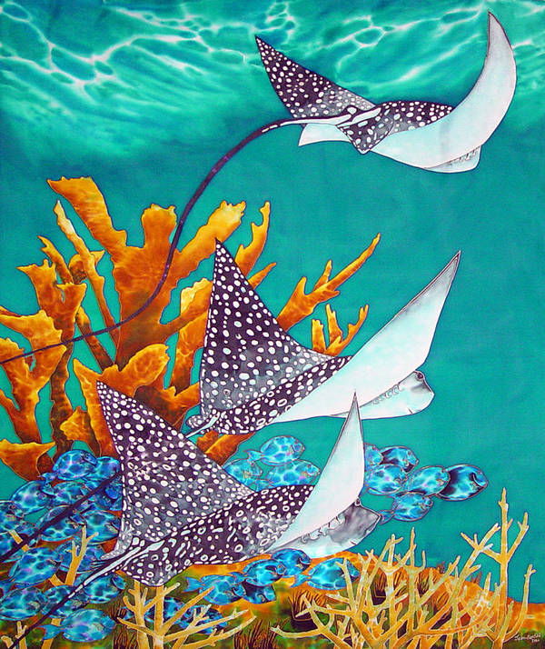 Eagle Ray Poster featuring the painting Under The Bahamian Sea by Daniel Jean-Baptiste