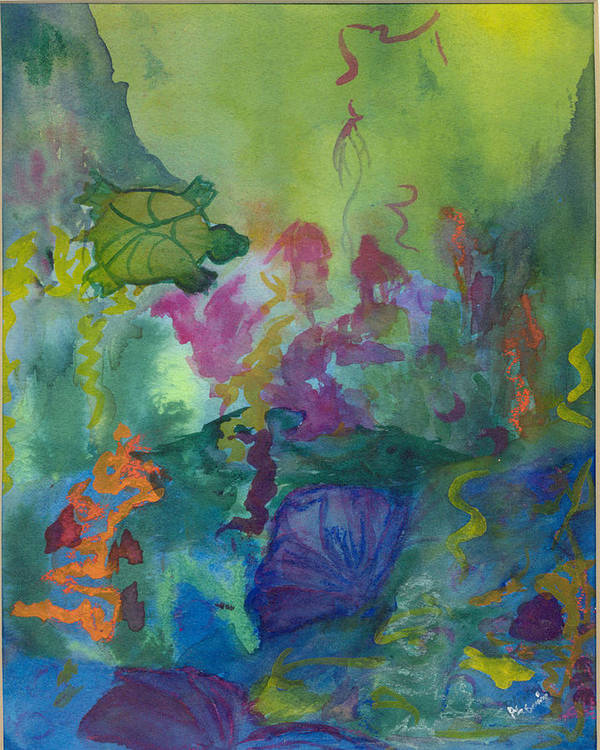 Vibrant Poster featuring the painting Under the Sea by Phoenix Simpson
