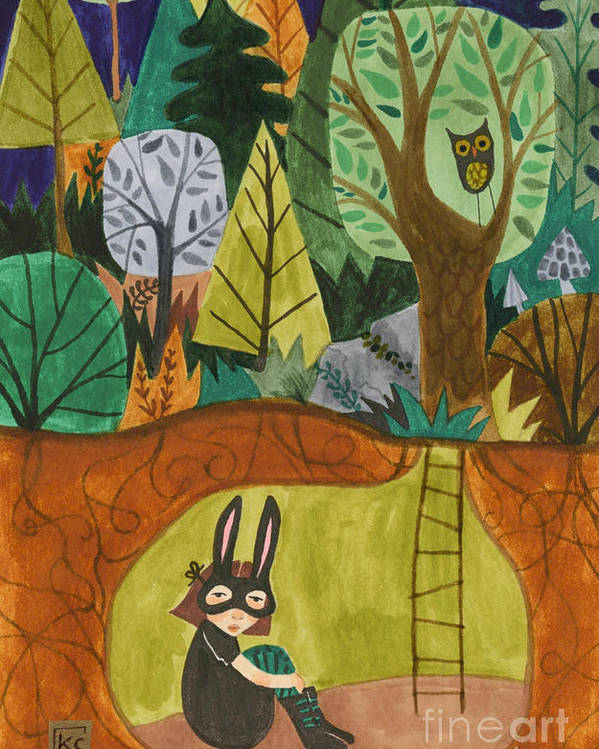 Bunny Mask Poster featuring the painting Underground by Kate Cosgrove