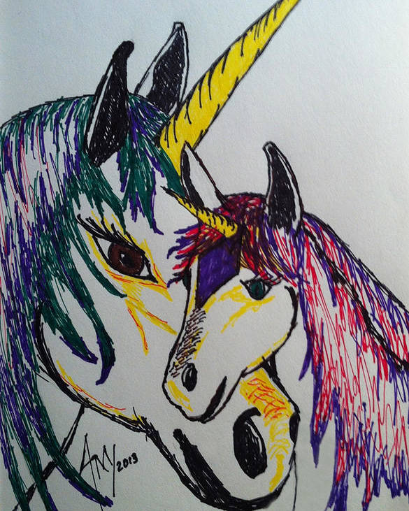 #marker Drawing #unicorn Poster featuring the drawing Unicorn by Amy Fyffe