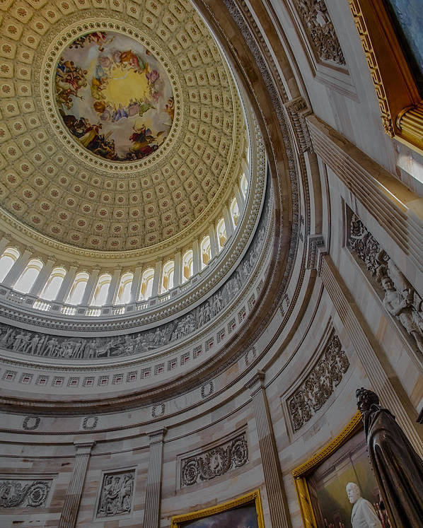 America Poster featuring the photograph Unites States Capitol Rotunda by Susan Candelario