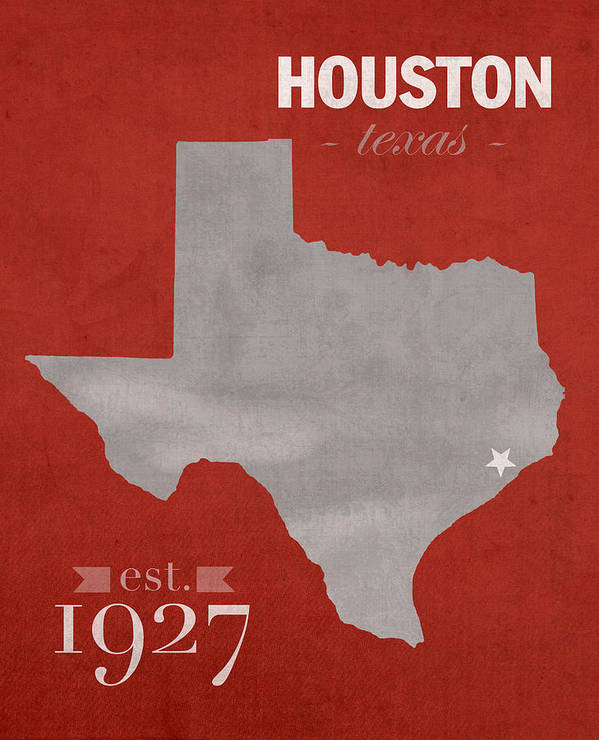 University Of Houston Cougars Texas College Town State Map Poster