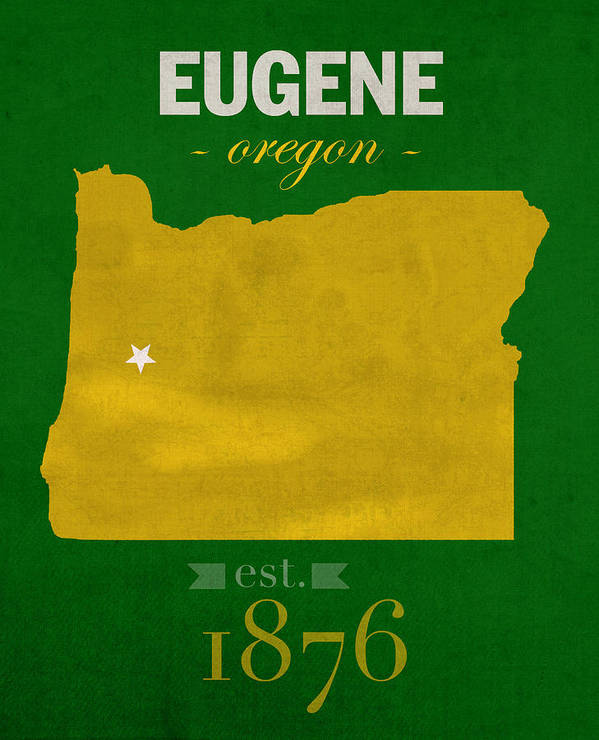 University Of Oregon Ducks Eugene College Town State Map Poster