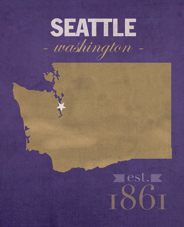 University Of Washington Huskies Seattle College Town State Map