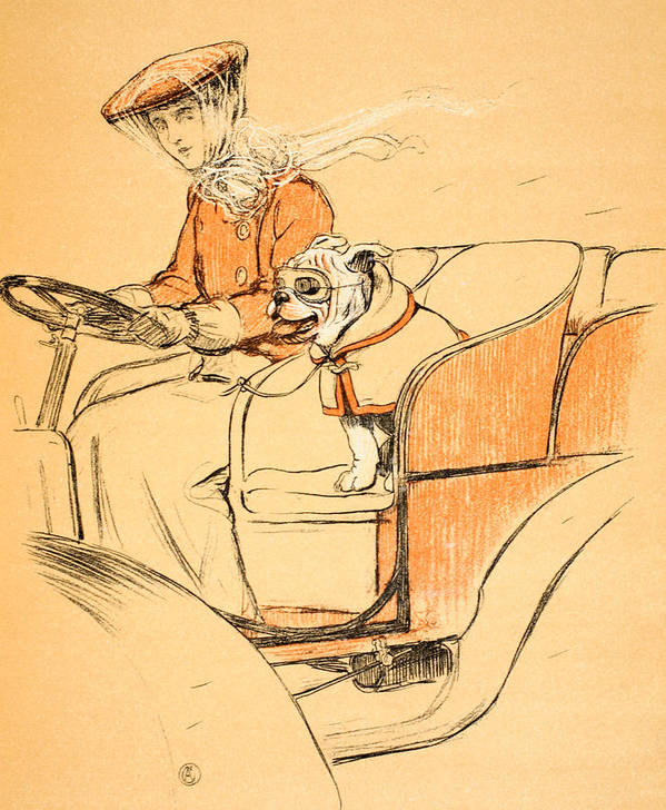 Motor Car Poster featuring the painting Up Front by Cecil Charles Windsor Aldin