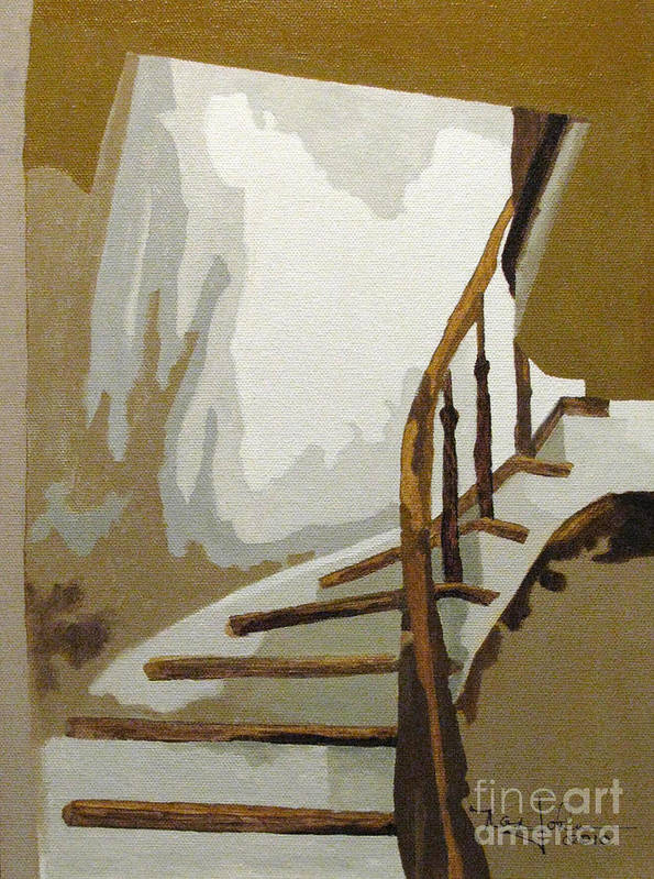 Stairs Poster featuring the painting Up The Staircase by Nancie Johnson
