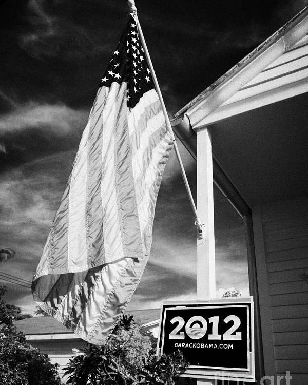 2012 Poster featuring the photograph Us Flag Flying And Barack Obama 2012 Us Presidential Election Poster Florida Usa by Joe Fox