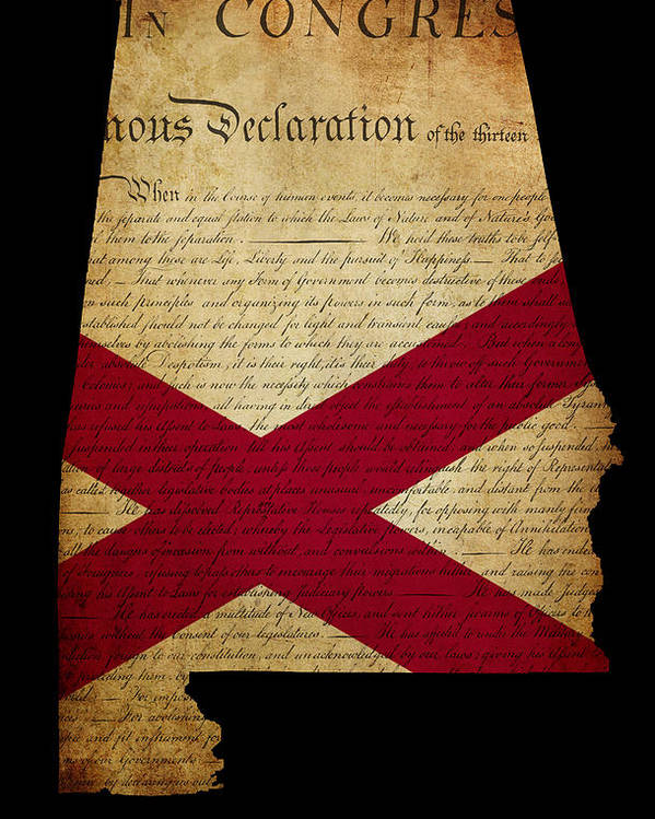 Usa Poster featuring the photograph Usa American State Alabama Map Outline With Grunge Effect Flag A by Matthew Gibson