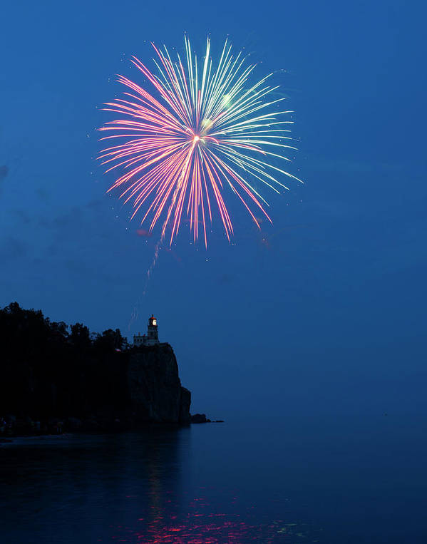 Firework Poster featuring the photograph Usa, Minnesota, Two Harbors, Split Rock by Peter Hawkins