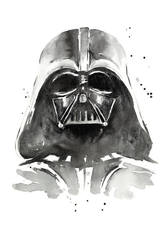 Watercolor Poster featuring the painting Darth Vader Watercolor by Olga Shvartsur