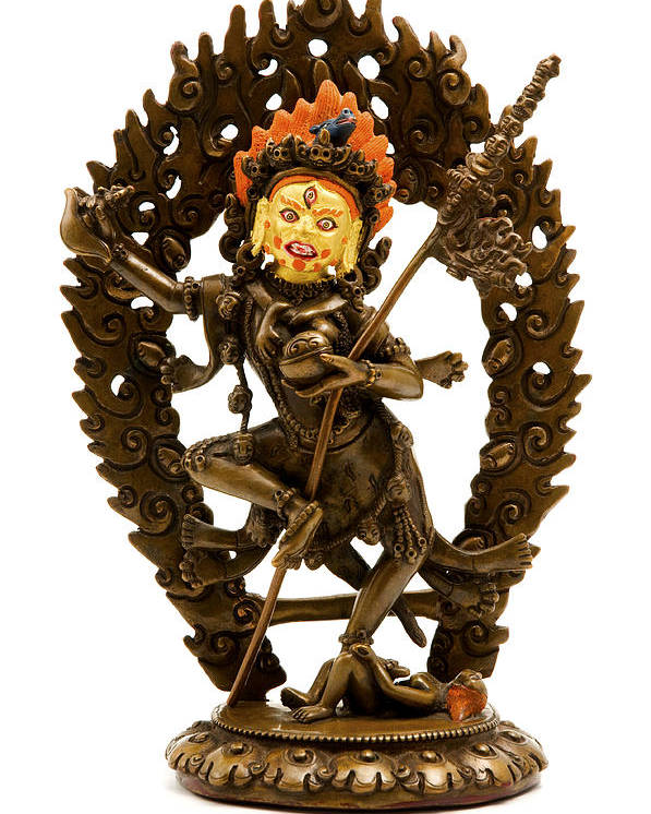 White Background Poster featuring the photograph Vajrayogini by Fabrizio Troiani